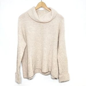 Free People cream knit wool cowl neck sweater S